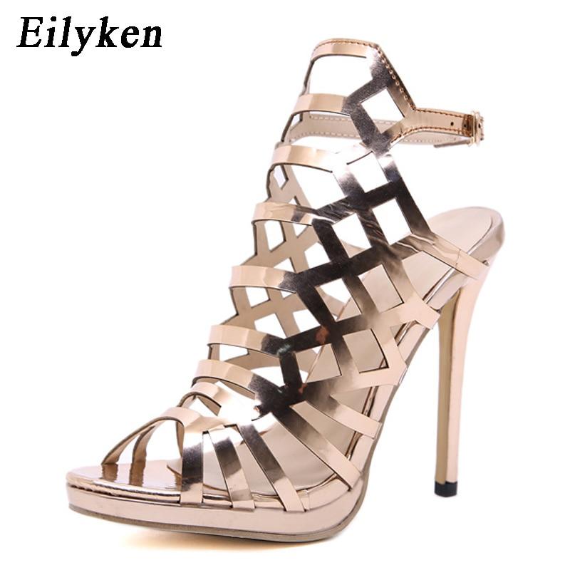 Correa Hebilla Verano Golden Zapatos Mujeres Mujeres Tobillo De Gruesos Eilyken Oro Gladiador Tacones Sandalias Las av6Iq