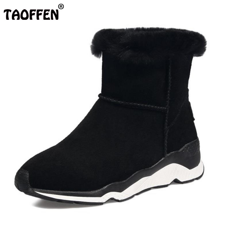 TAOFFEN Women Genuine Leather Mid Calf Boots Thick Fur Short Flats Boots Warm Fur Shoes Cold Winter Women Footwears Size 34-39 size 35 41 women high heel boots thick fur genuine leather mid calf boots women winter shoes warm botas women footwears