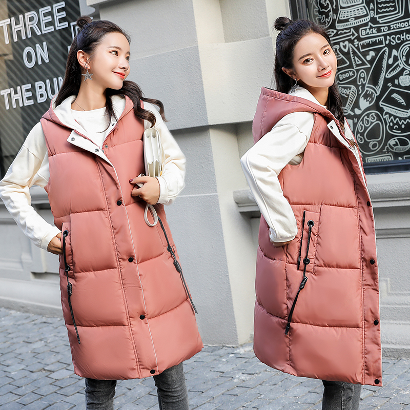 Women Winter Vest Fashion Autumn Winter Thick Warm Waistcoat Casual Solid Long Style Hooded Sleeveless Vest Coat Plus Size Always Buy Good