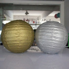 AJP Gold and silver paper lanterns round folding crafts paper lampshade wedding decorate stage decoration props paper lampion
