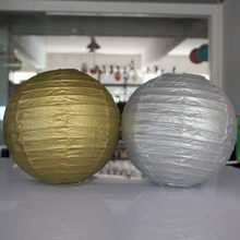 AJP Gold and silver paper lanterns round folding crafts paper lampshade wedding decorate stage decoration props paper lampion(China)