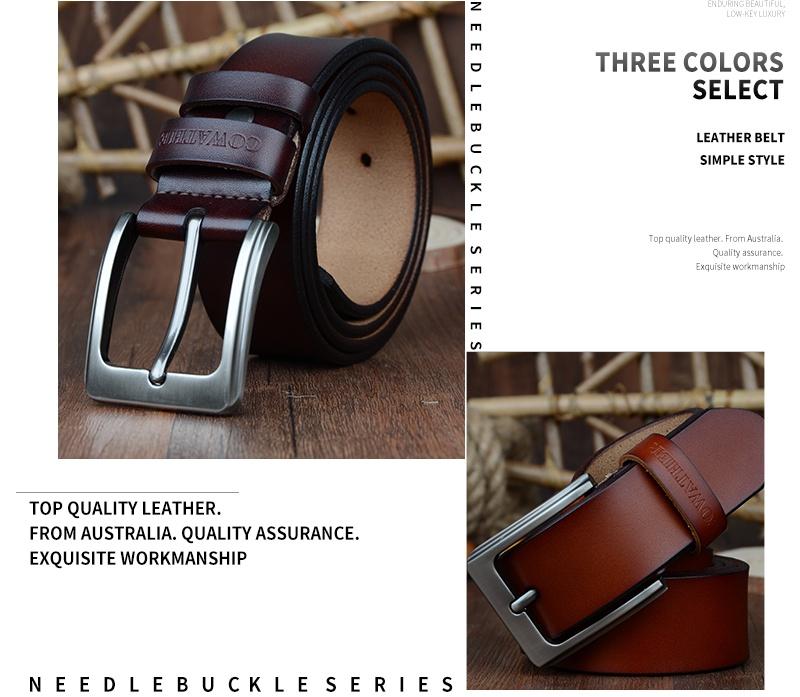 حزام COWATHER جلد طبيعي للرجال 27