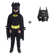 Avengers 4 Kids Boys Muscle Batman Costumes with Mask Cloak Superhero Cosplay Halloween Masquerade Party Superman Role Play(China)