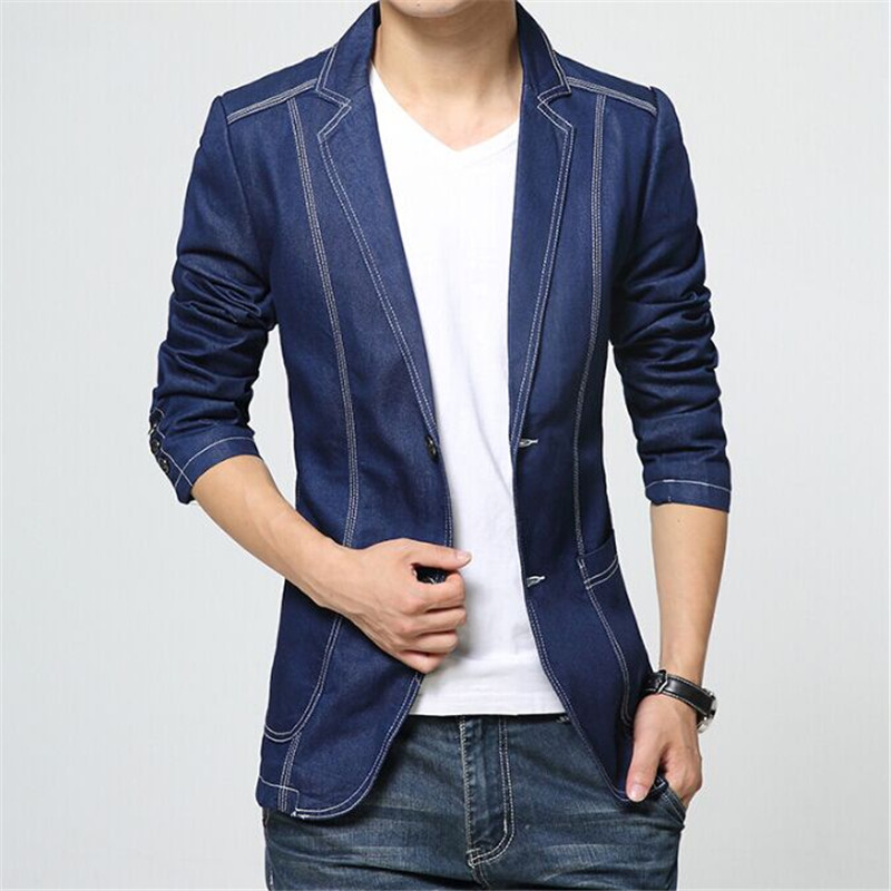 Men Denim Suit Jacket Brand Autumn Slim Fit Fashion European Style ...