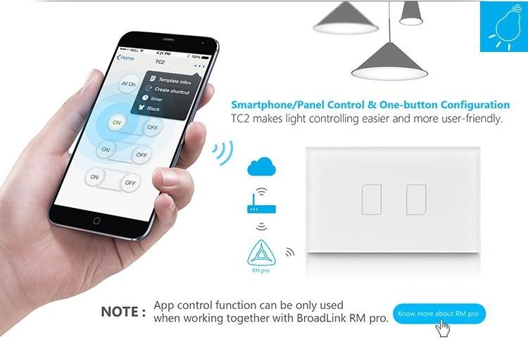 2018 Broadlink TC2 US/AU version 1 2 3 Gang WiFi Accueil automatisation Intelligente Télécommande Led Lumière Switche Tactile Panneau via RM Pro + 17