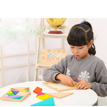 Colorful Wooden Tangram Jigsaw Square block IQ Game Intelligent Educational Toys best gifts for Kids Children's educational toys
