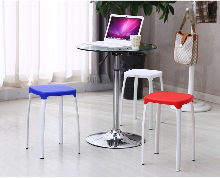 Hotel dining stool blue red color plastic PP seat Stackable stool retail wholesale free shipping hotel hall office chair green blue color lifting rotation stool retail wholesale pink blue furniture chair free shipping