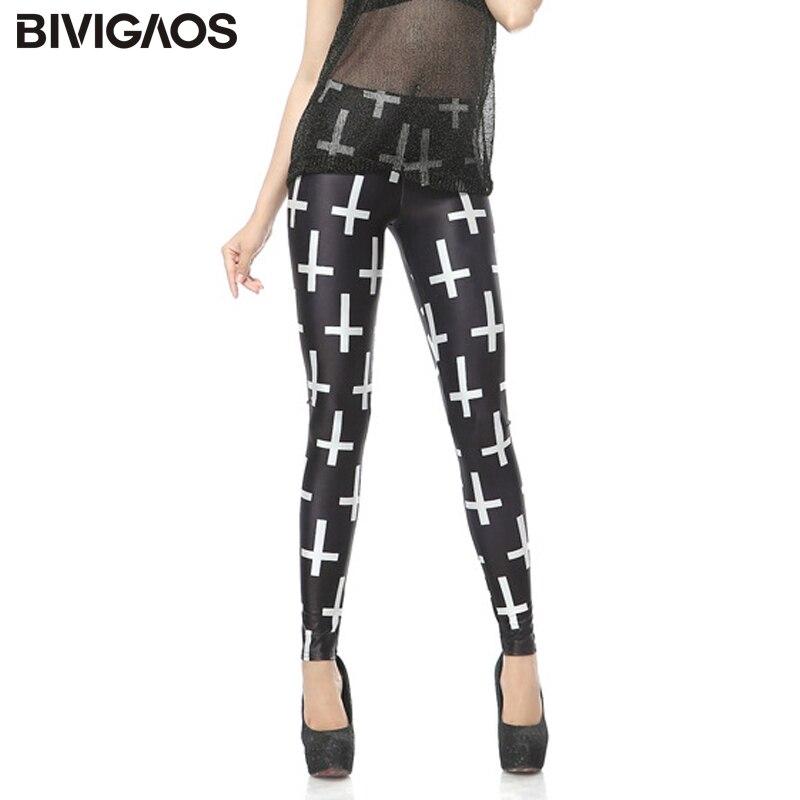 BIVIGAOS New Fashion White Cross Digital Printing Nine Pants Leggings Fitness Elastic Leggings Black Milk  Leggings For Women