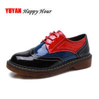 Fashion Brogue Shoes Women Casual Shoes Leather Brand Footwear Women's Flats Sweet Girls Students Shoes A241