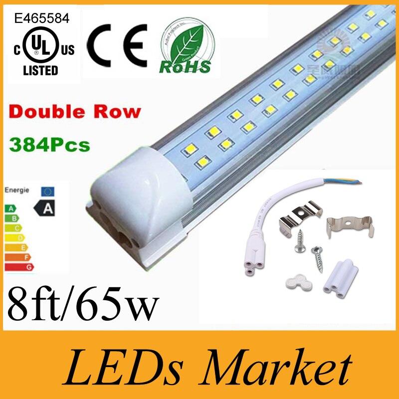 Us 928 0 T8 Integrated Double Row Led Tube Light 8ft 65w Smd2835 Led Light Lamp Bulb 8 Foot Led Lighting Fluorescent Ac85 265v Ul Ce Rohs In Led