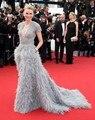 Prata Vestidos de Celebridades Oscar 2017 Sexy Com Decote Em V da Luva do Tampão De Cristal Caro Pena Backless Vestidos No Tapete Vermelho Custom Made