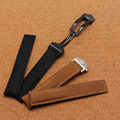 Fashion Brand leather watchbands smooth black brown watchband with folding buckle 20mm watch accessories bands hours strap soft