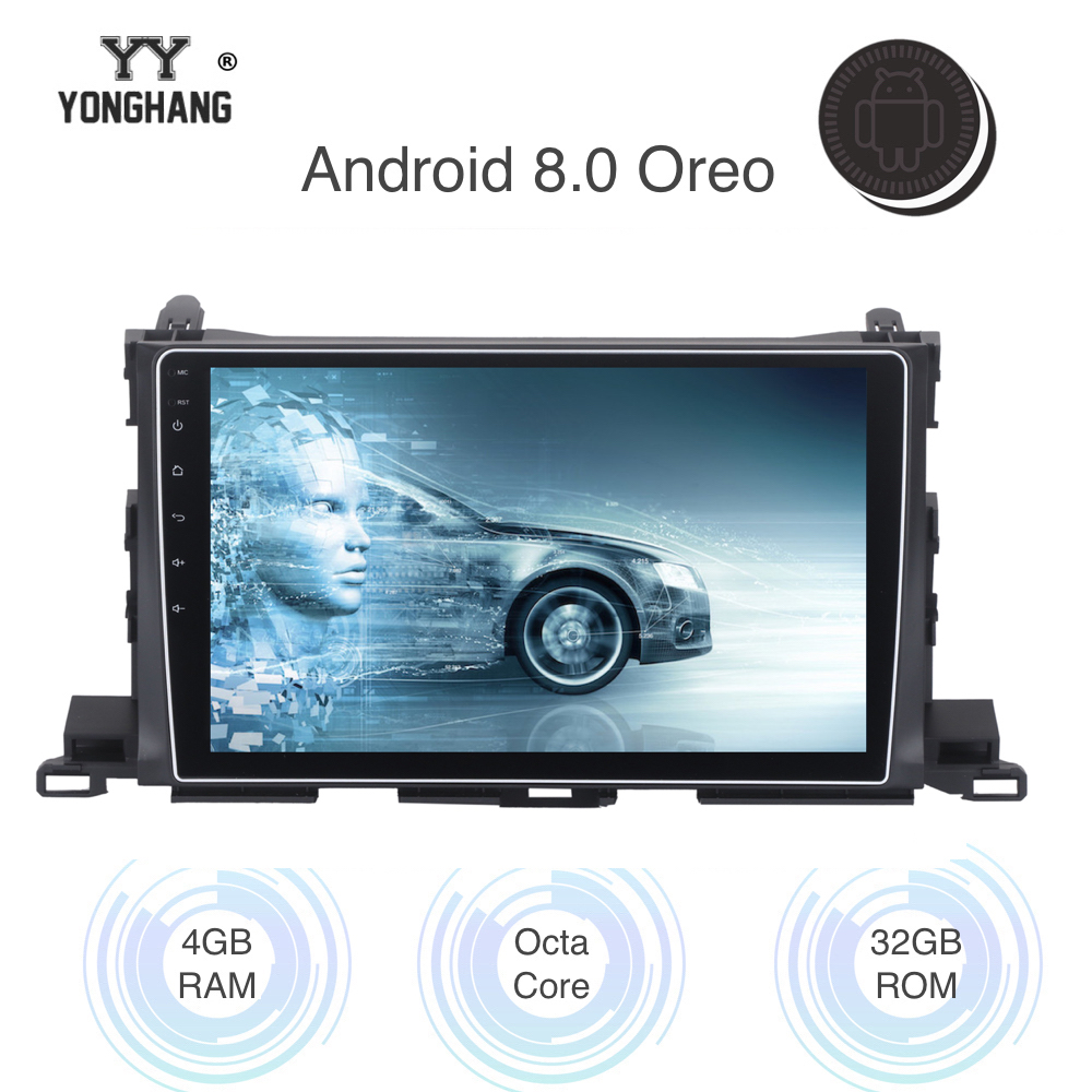 """Автомобиль Радио Android 8,0/7,1 для Toyota highlander 2014 2015 2016 мультимедиа с 10,2 """"сенсорный экран руль управление RDS"""