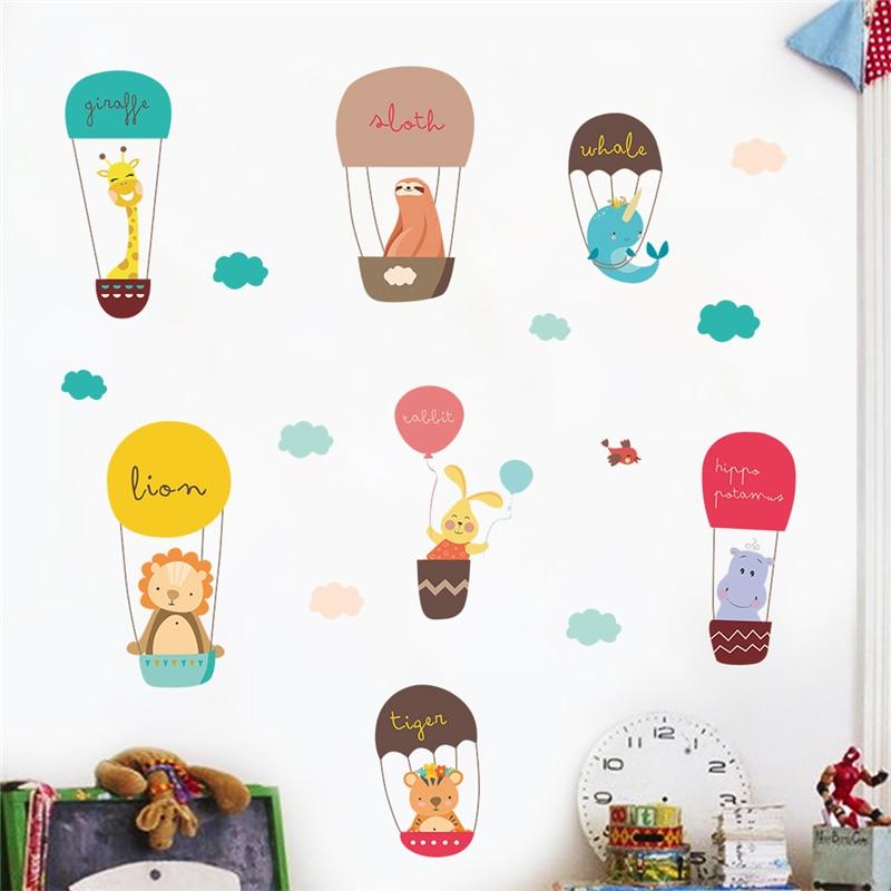 Air Balloon Animal Kids Room Wall Sticker Bear Giraffe Home Walls Decals Poster