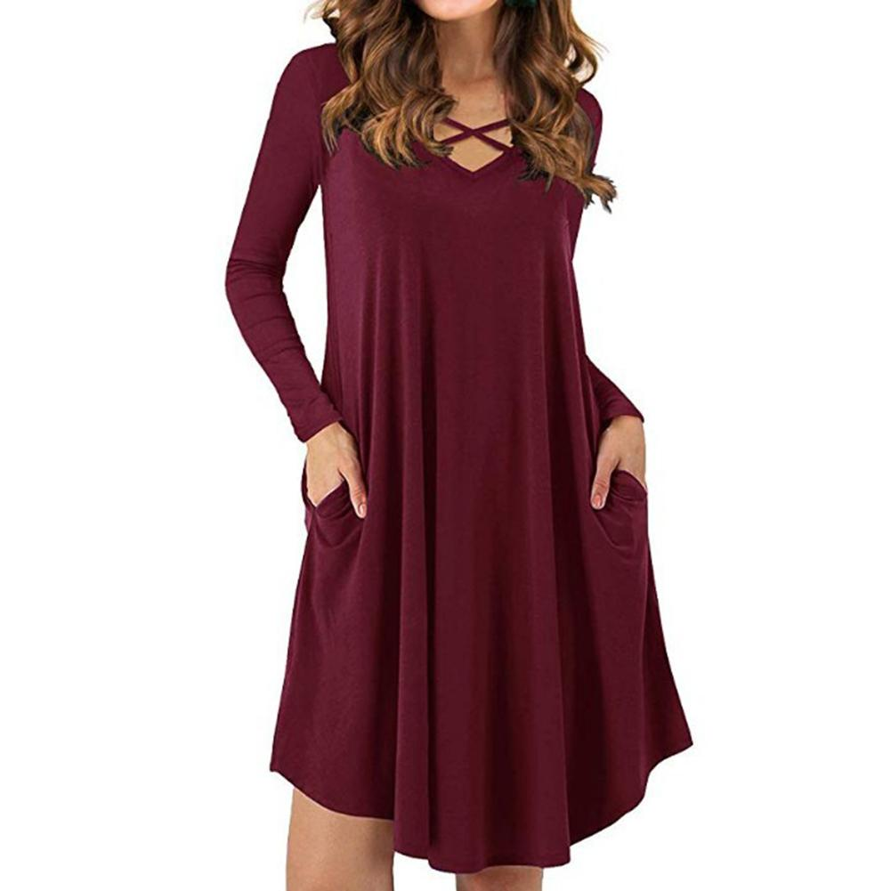 Wholesale Solid Color Women Casual Cross Strap V Neck Long Sleeve Swing Hem T-Shirt Dress