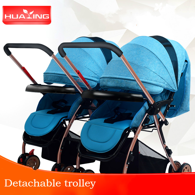 Lightweight bidirectional twins baby stroller multifunction multiple newborn carriage split shockproof folding infant trolley fit gainer 750 гр ваниль fitness formula академия т