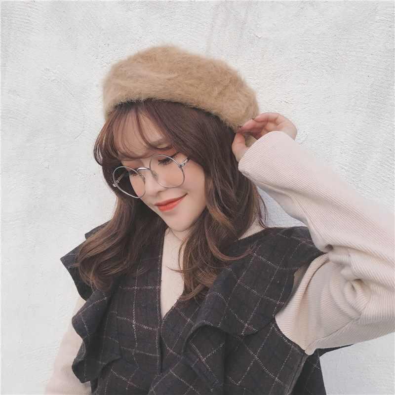 Осенние и зимние французские береты для женщин из кроличьей шерсти зимние шапки для паинтеров Новое поступление теплые модные шапки