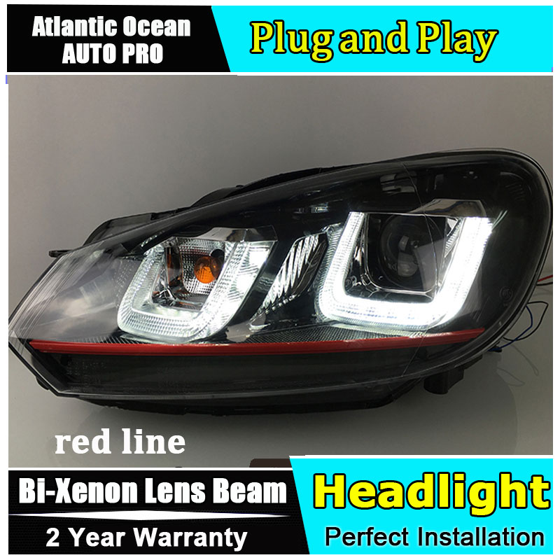 Auto.Pro car Style LED Head Lamp for VW Golf 6 led headlights 2009-2013 Angel eye double u led drl HID KIT Bi-Xenon Lens low bea hireno headlamp for 2016 hyundai elantra headlight assembly led drl angel lens double beam hid xenon 2pcs