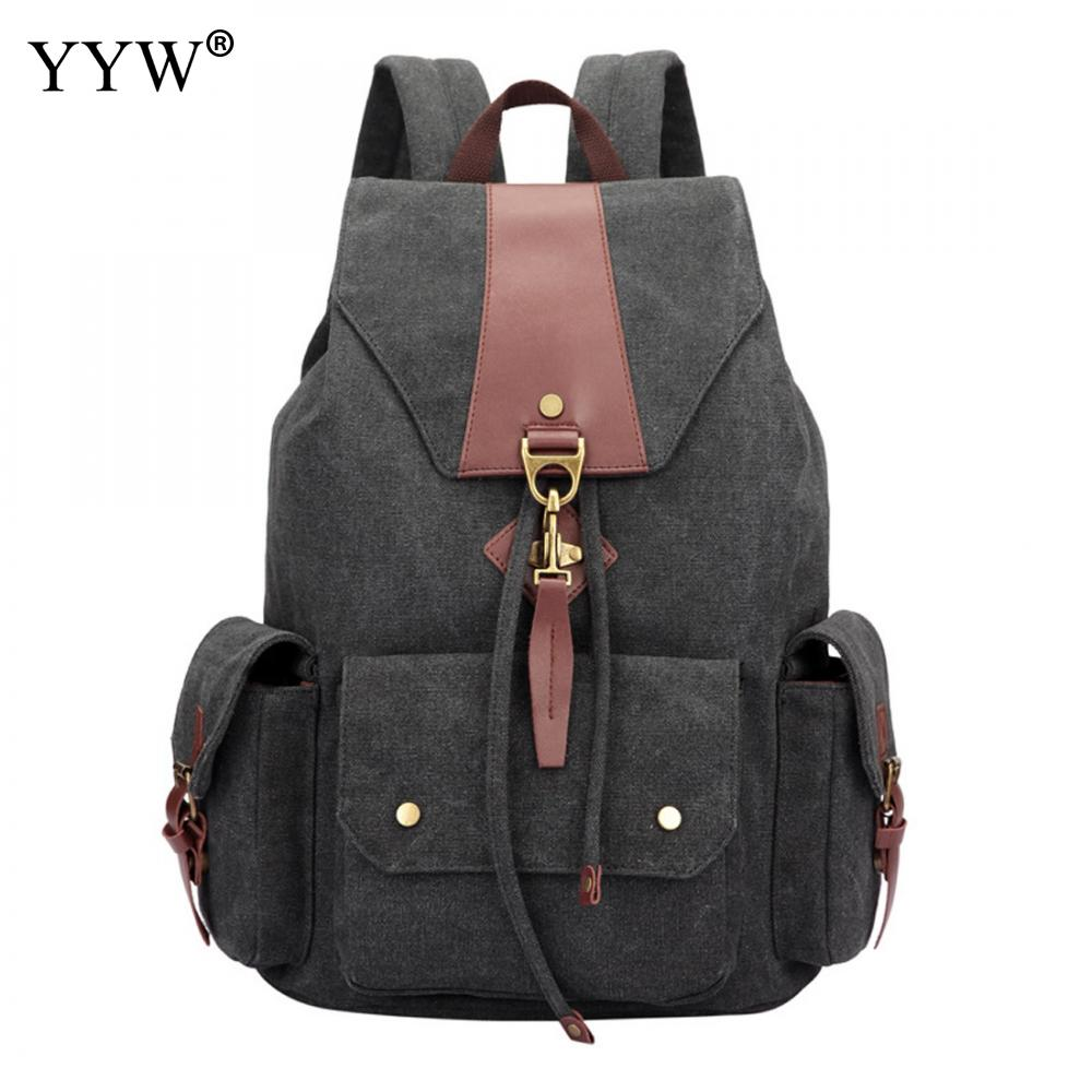 Wholesale Solid Unisex Backpack 2018 Large Capacity School Backpacks for Male High Quality Gray Canvas Backpack