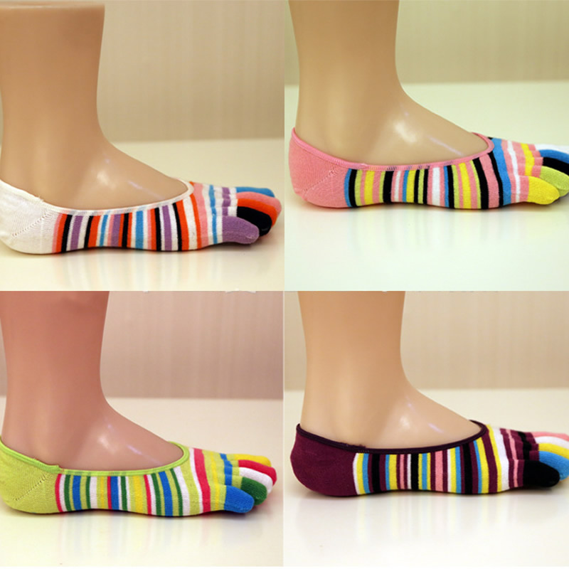 1 pair lovely Five Fingers Cotton Socks cute female Breathable Summer stripe Casual Breathable deodorant patchwork for lady