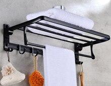 Bathroom Storage & Organisation Towel Racks - Foldable Towel Holder Black Brief Aluminum Towel Folding Towel Holder Double Bath