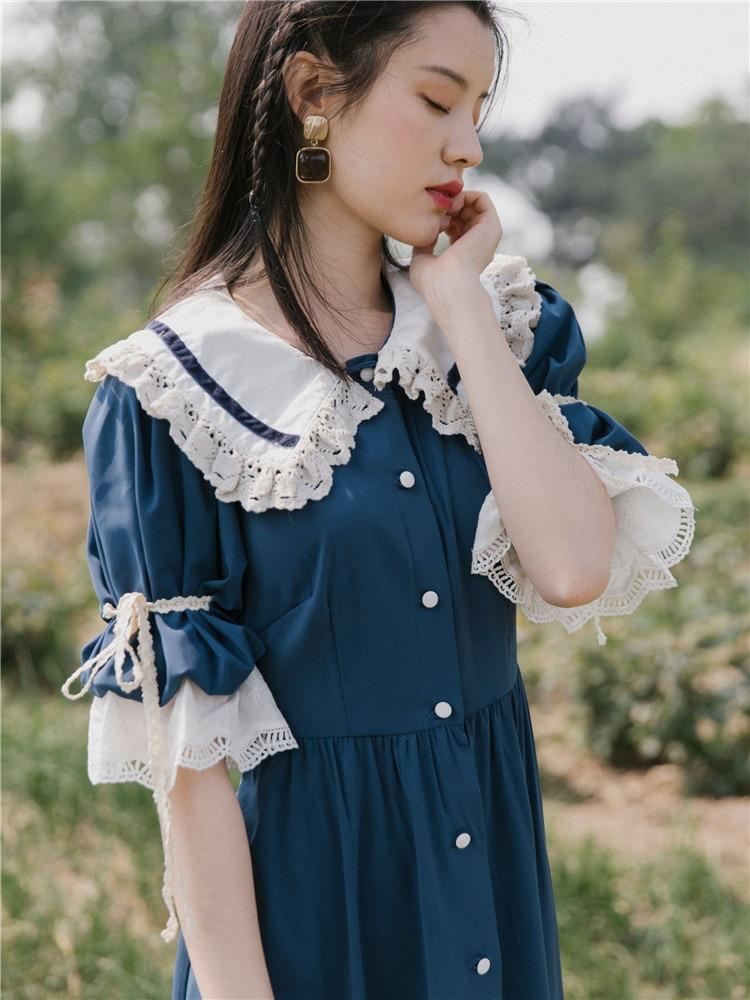 Kadın Giyim'ten Elbiseler'de Vintage Kadınlar Mavi Elbise Tatlı Peter Pan Yaka Dantel Flare Kol Uzun Maxi Elbiseler Ince Bayan Mori Kız Vestidos faldas'da  Grup 1