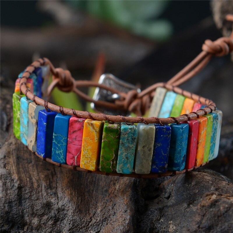 Pulseira Multicolor Boho Pedra Natural Envoltório Pulseira Chakra Pulseira Dropshipping Couro Único Envoltório Pulseira Poder Jóias