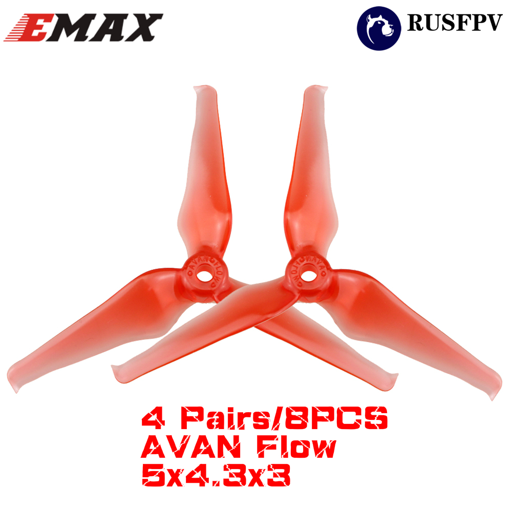 4 Pairs/8PCS Emax AVAN Flow 5 Inch 5x4.3x3 3-blade RC Drone FPV Racing Propeller for 2206 2207 2306 Motor
