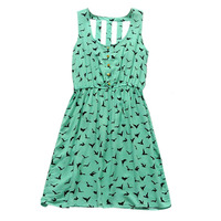 Summer Women New Casual Print Eagle Hollow Back Sleeveless Dresses Clothing
