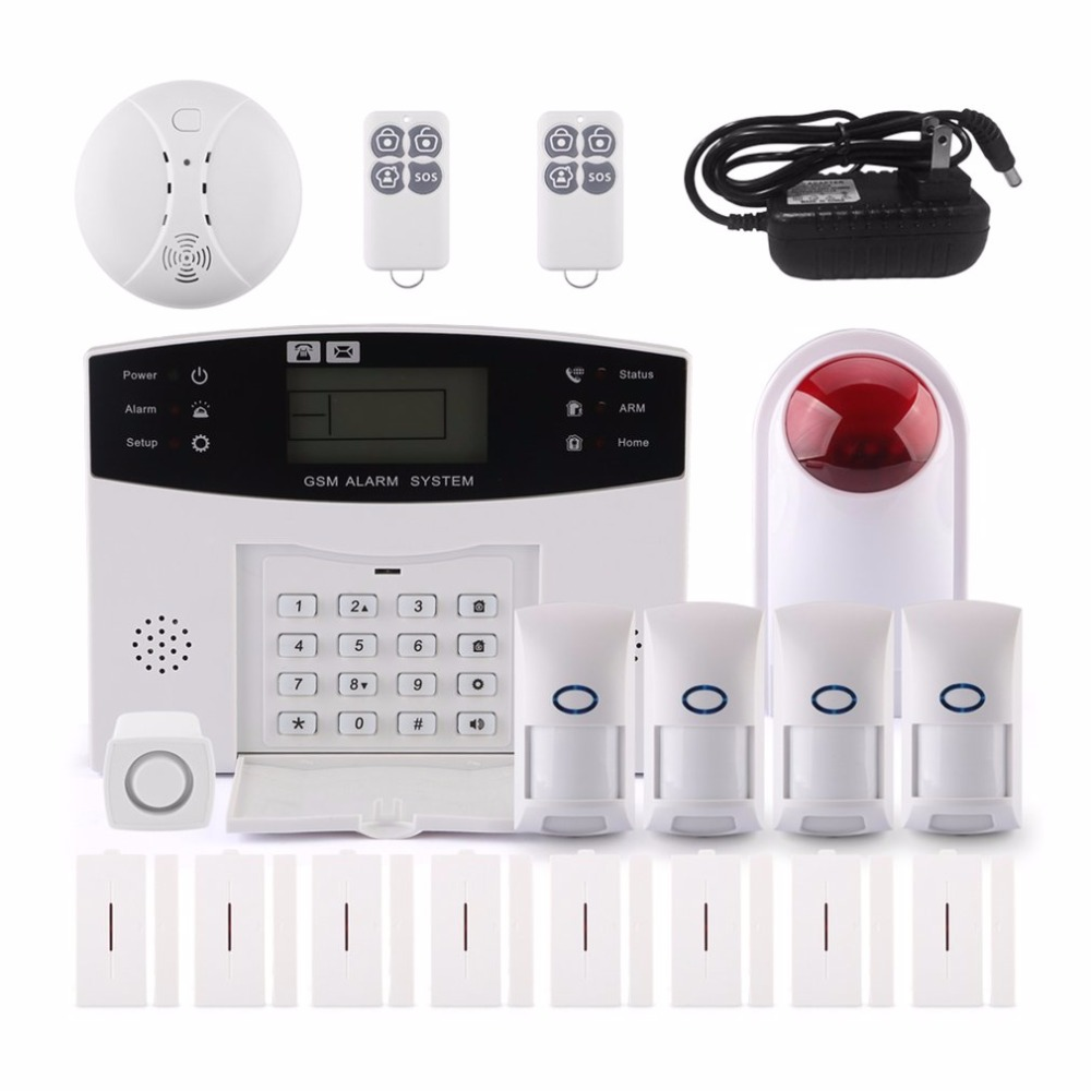 GSM-LCD WIFI Smart Home Burglar Security Alarm System 433 Intelligent Alarm Android For IOS APP Control Voice Prompt Alarm Kit wolf guard wifi wireless 433mhz android ios app remote control rfid security wifi burglar alarm system with sos button