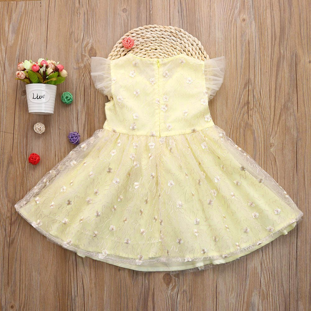 MUQGEW teenage girls clothing summer Children Infant Solid Floral Bowknot Net Yarn Princess Dress Clothes kerst truieny2