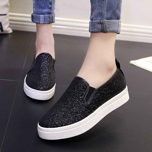 Women Loafers paillette Spring New