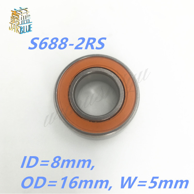 Free shipping 10PCS 8x16x5 S688-2RS Stainless steel hybrid ceramic ball bearing S688 2OS CB ABEC7 S688C 2OS free shipping 17287 2rs cb wheel hub bearing stainless steel si3n4 hybrid ceramic bearing 17 28 7mm