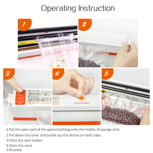 Image 5 - Tinton vida 220 v/110 v aferidor do vácuo de alimentos do agregado familiar máquina de embalagem seladora de filme empacotador do vácuo incluindo 15 sacos dos pces