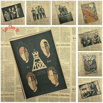 Fall Out Boy Rock Band Music Kraft Paper Poster Vintage High quality Printing Drawing core Decorative Painting