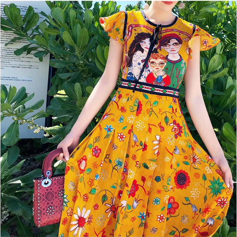 Vêtements 2018 Courtes D'été À Vintage Imprimer Parti Jaune Femme Tunique Manches Longue Maxi Robe Couple Piste Femmes waH0xfqHU