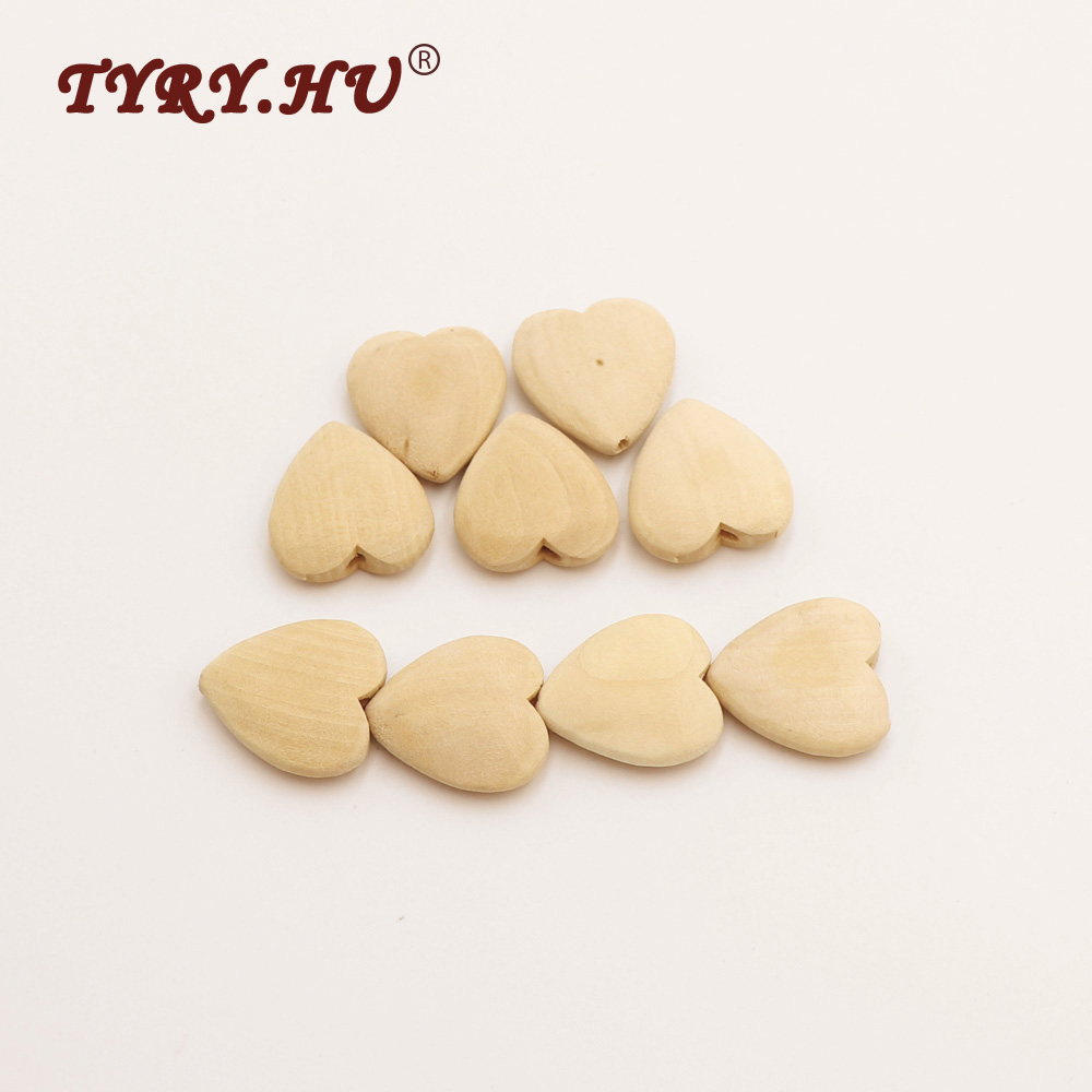 TYRY HU 10Pcs Natural Heart Shaped Wooden Beads Non toxic And Healthy Baby Teether Baby Mordedor