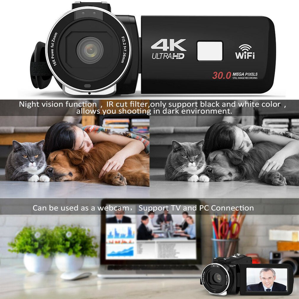 HTB1WS37aRv0gK0jSZKbq6zK2FXaS HDV4K HD digital camera night vision 30MP DV WIFI touch screen infrared fill light Camcorder Recorder