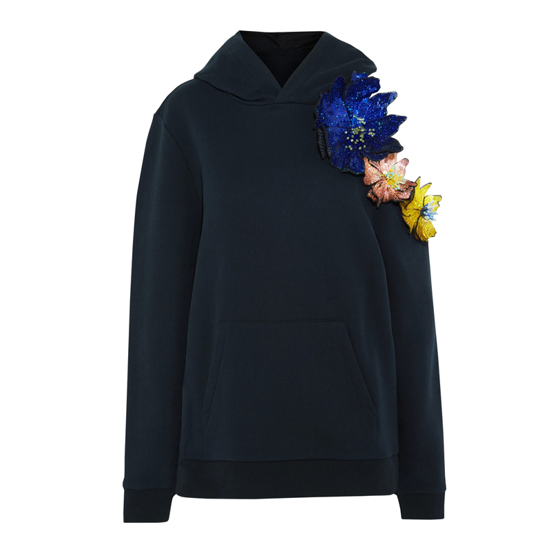 Новинка; сезон весна; 18; Асимметричный свободный свитер с вышивкой из бисера без бретелек; толстовка с капюшоном и цветами - 5
