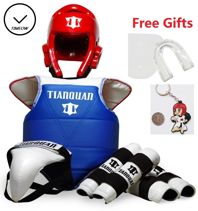 где купить TIMEOW Taekwondo WTF Gear Adult Kids Child Thickening Chest Protector Tae kwon do Karate Helmet Arm & Shin Guard Bag 6pcs/set дешево