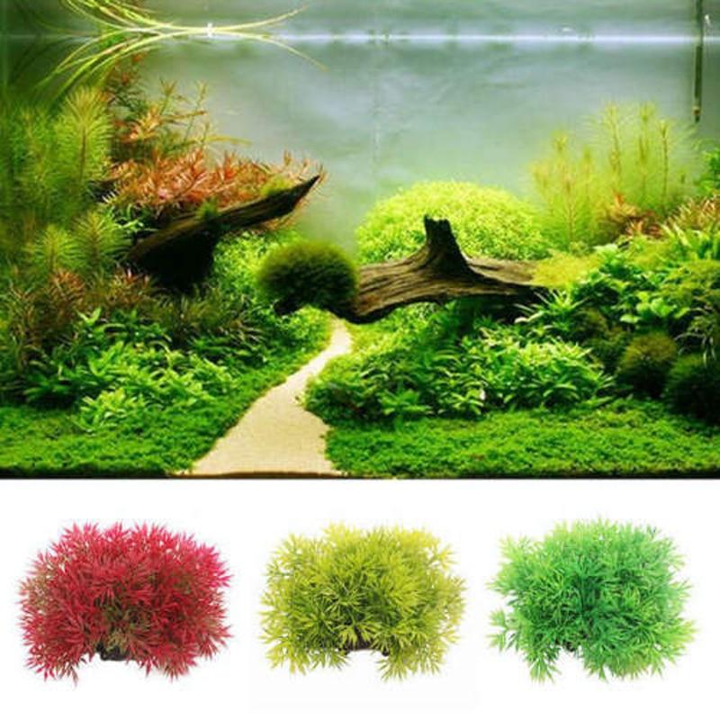 Новый водяной траве Пластик короткими широкими завод моделирование, искусственные растения для аквариумных рыб танк орнамент украшения