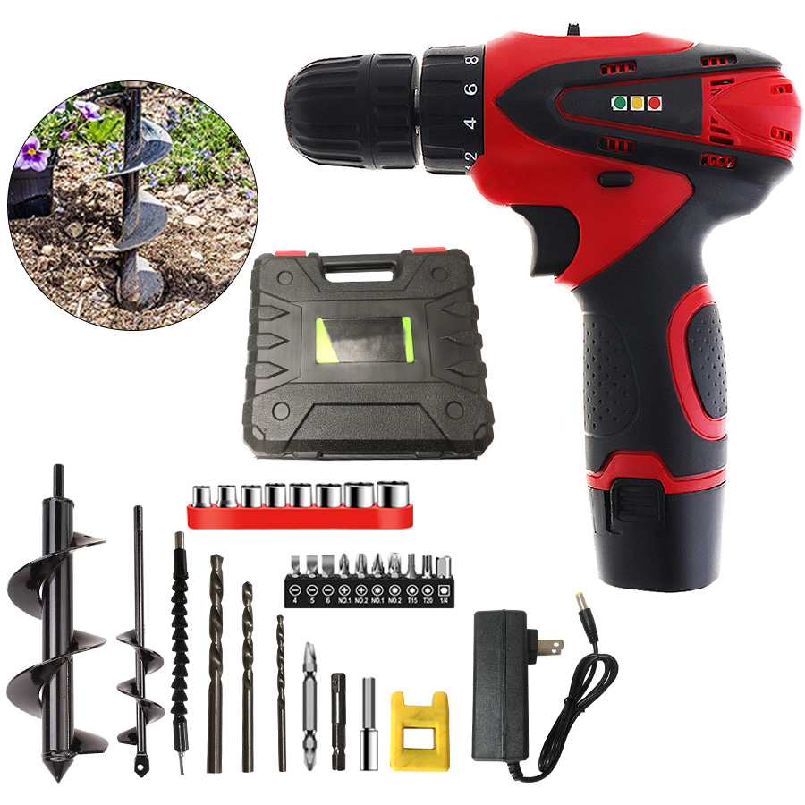 Hand Electric Drill Mini Cordless Screwdriver Earth Auger Hole Digger Tools Planting Machine Earth Spiral Drill Bit Garden Tool