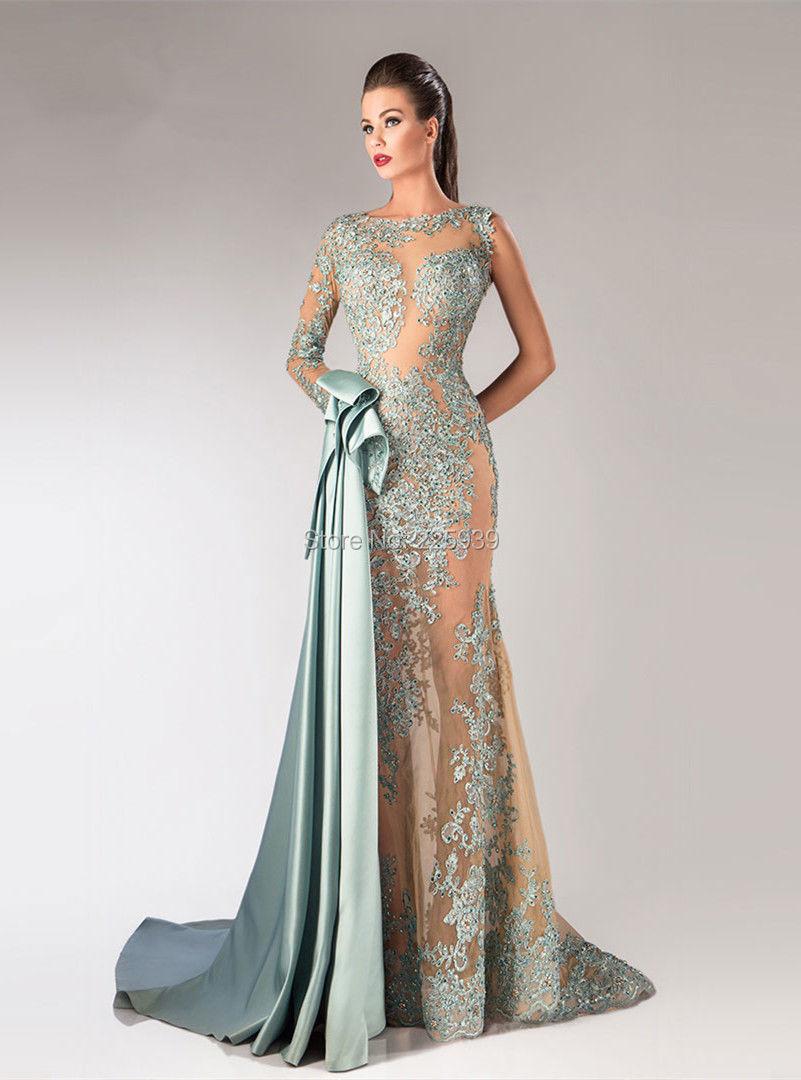 e24dc794c Nueva moda barco cuello de la manga larga hermosos apliques de encaje  brillo de plata largo moldeado de la sirena de noche viste los vestidos en  Vestidos de ...