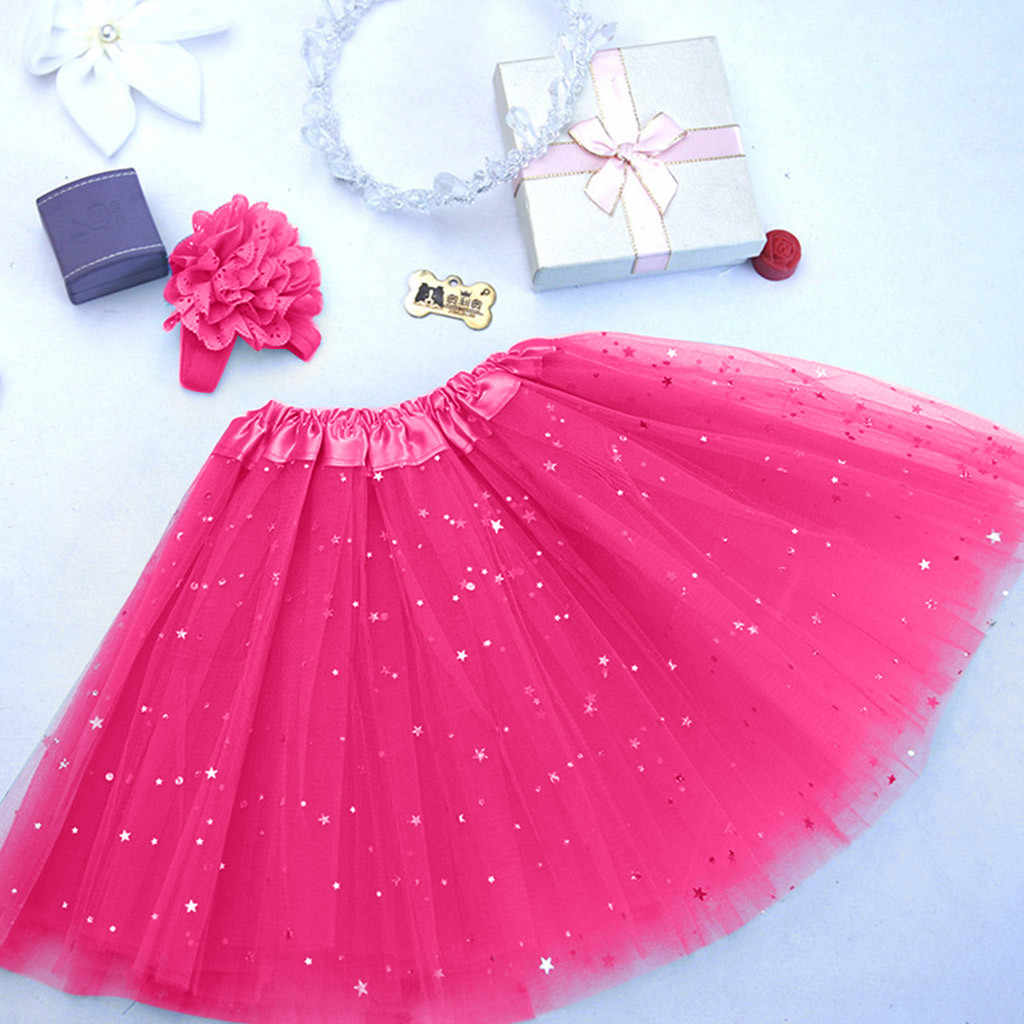 Çocuklar yürümeye başlayan bebek kız prenses elbise çocuklar kız Petticoat madeni pul yıldız Pettiskirt saç bandı Tutu etek giyim