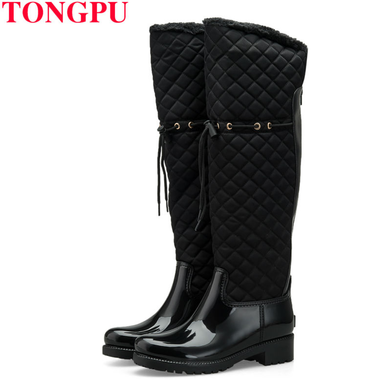 TONGPU Renata Women Boots Over Knee High Woman Shoes Rain Boots Waterproof Soft Warm Winter Fashion Snow Boots Keep warm 0923