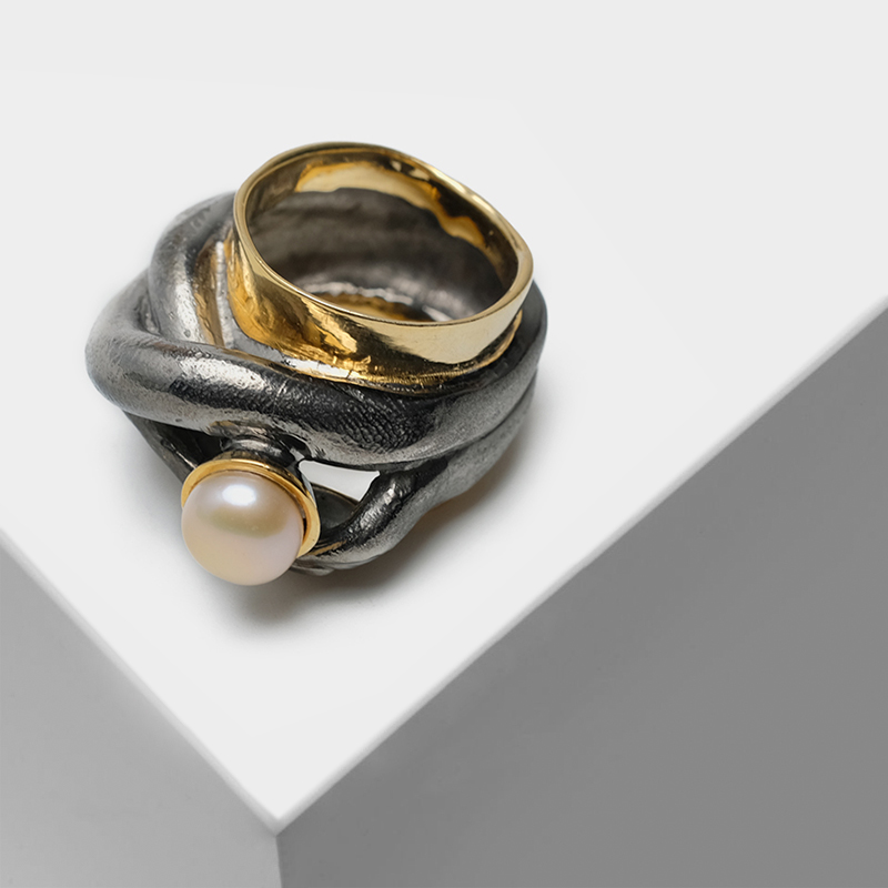 Vintage 925 Silver plated with 22k gold Exaggerated design inlaid semi-precious stone natural pearl two-tone Rings
