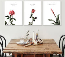 3 Pieces Frameless Vintage Flower Printed Canvas Modular Print Picture no Frame for Living Room Poster Decor Wall Art Pictures(China)
