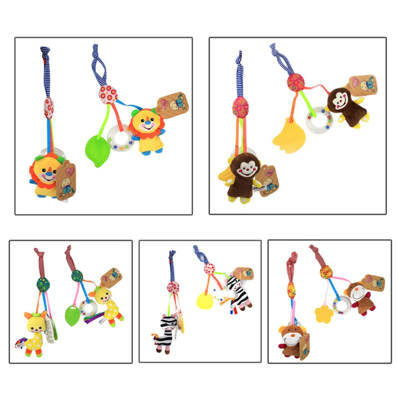 Baby Toy Stroller Teether Gifts Stuffed Quality Crib Development Kid Rubber Rattle Doll Hanging High Music