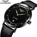 Мужские s часы лучший бренд класса люкс GUANQIN простой дизайн Ультра тонкие кварцевые часы мужские повседневные кожаные мужские часы relogio ...