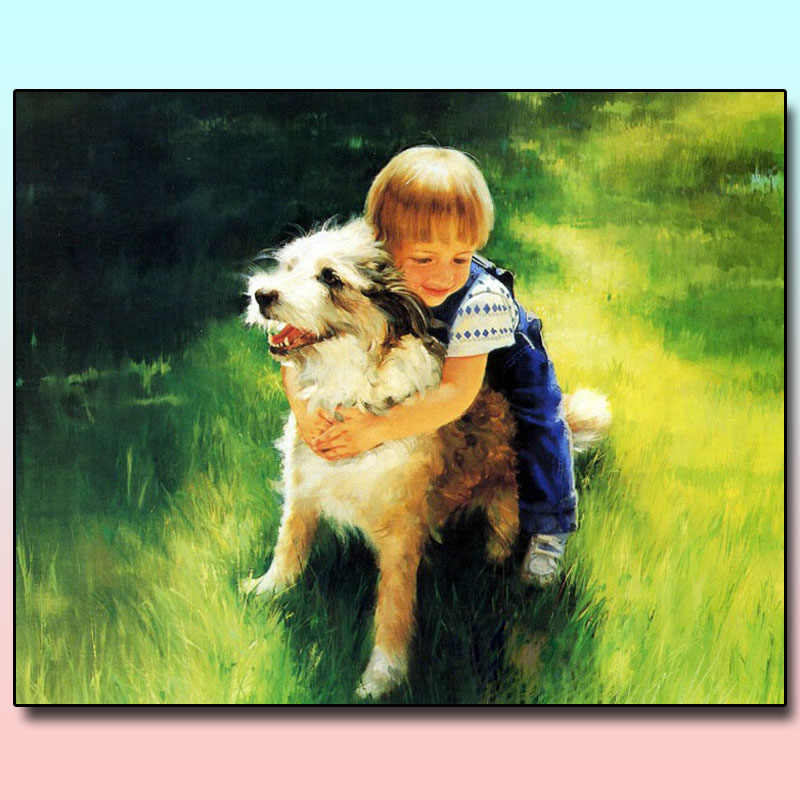 Two Dog Portrait Diamond Painting Full Square Drill Design Embroidery Decoration